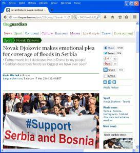 Informacja o wypowiedzi Djokovica w brytyjskim The Guardian